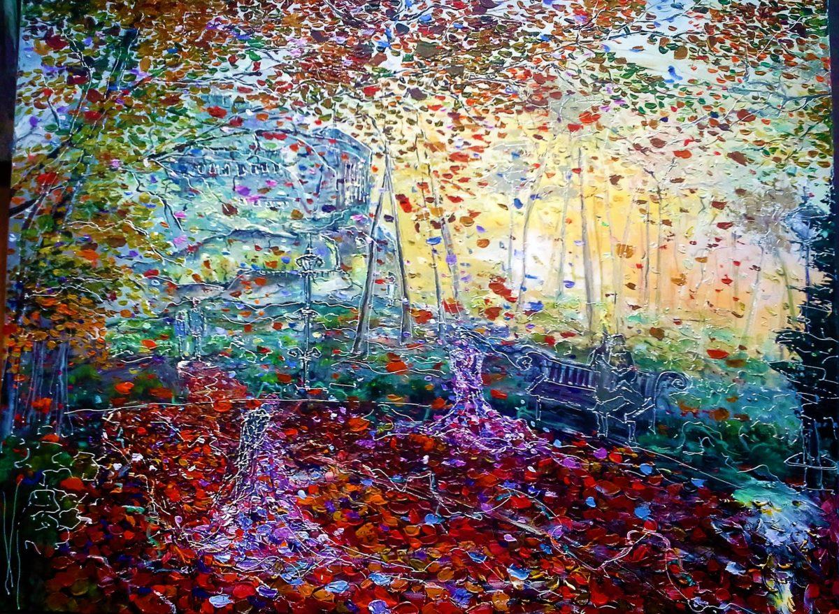 Jesenná cesta z mesta ( Autumn road in city )